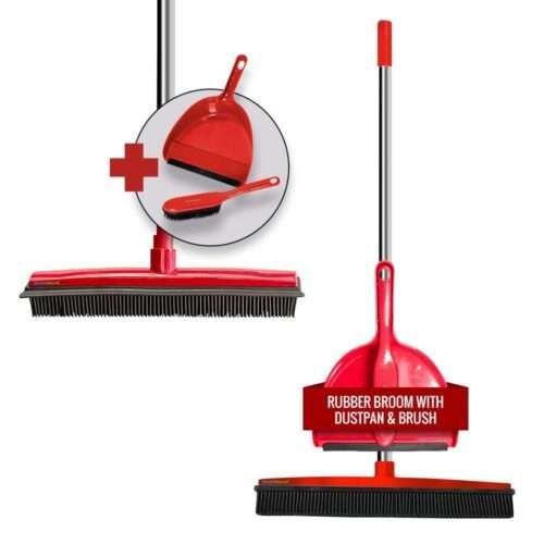 Rubber Brush and Dustpan | Red